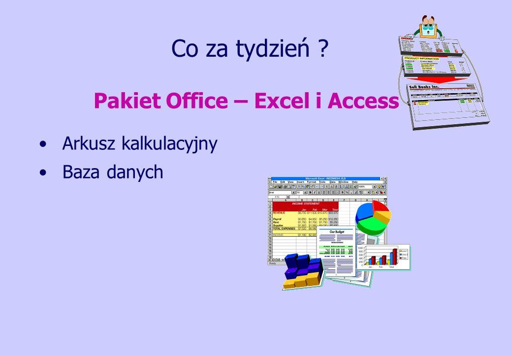 Co za tydzień ? Pakiet Office – Excel i Access Arkusz kalkulacyjny Baza danych