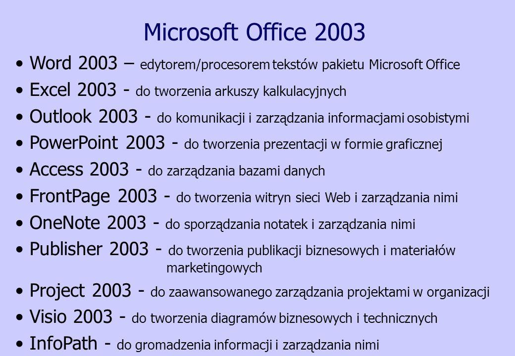 Microsoft Office 2003 Word 2003 – edytorem/procesorem tekstów pakietu Microsoft Office Excel 2003 - do tworzenia arkuszy kalkulacyjnych Outlook 2003 -