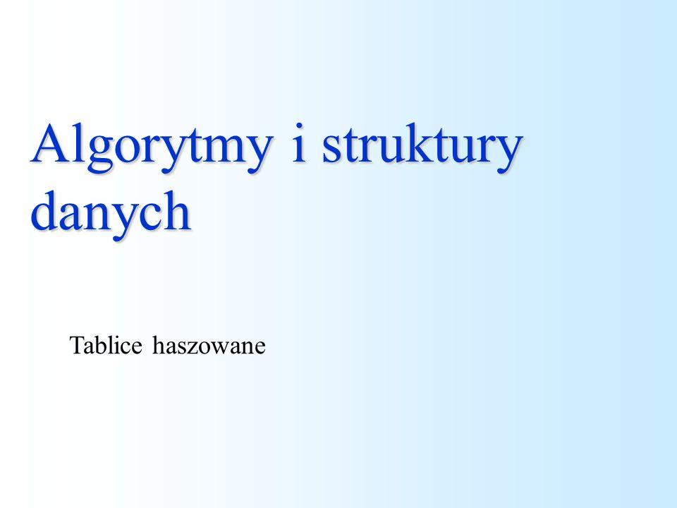 Algorytmy i struktury danych Tablice haszowane