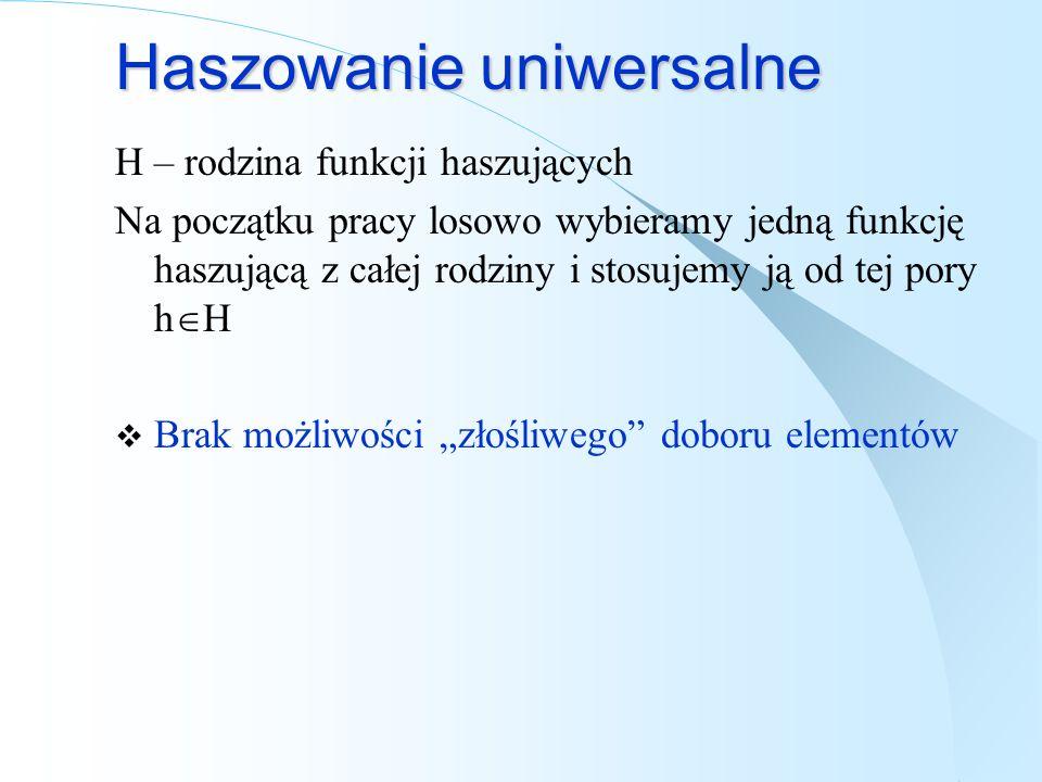 Haszowanie uniwersalne H – rodzina funkcji haszujących Na początku pracy losowo wybieramy jedną funkcję haszującą z całej rodziny i stosujemy ją od te