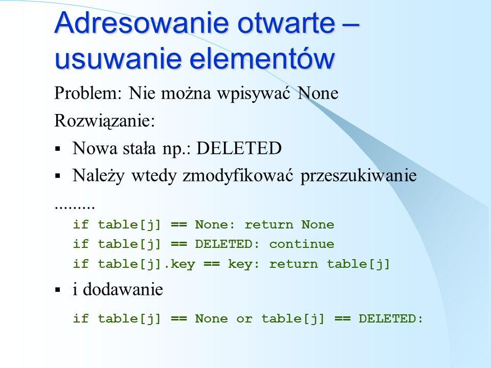 Adresowanie otwarte – usuwanie elementów Problem: Nie można wpisywać None Rozwiązanie: Nowa stała np.: DELETED Należy wtedy zmodyfikować przeszukiwani