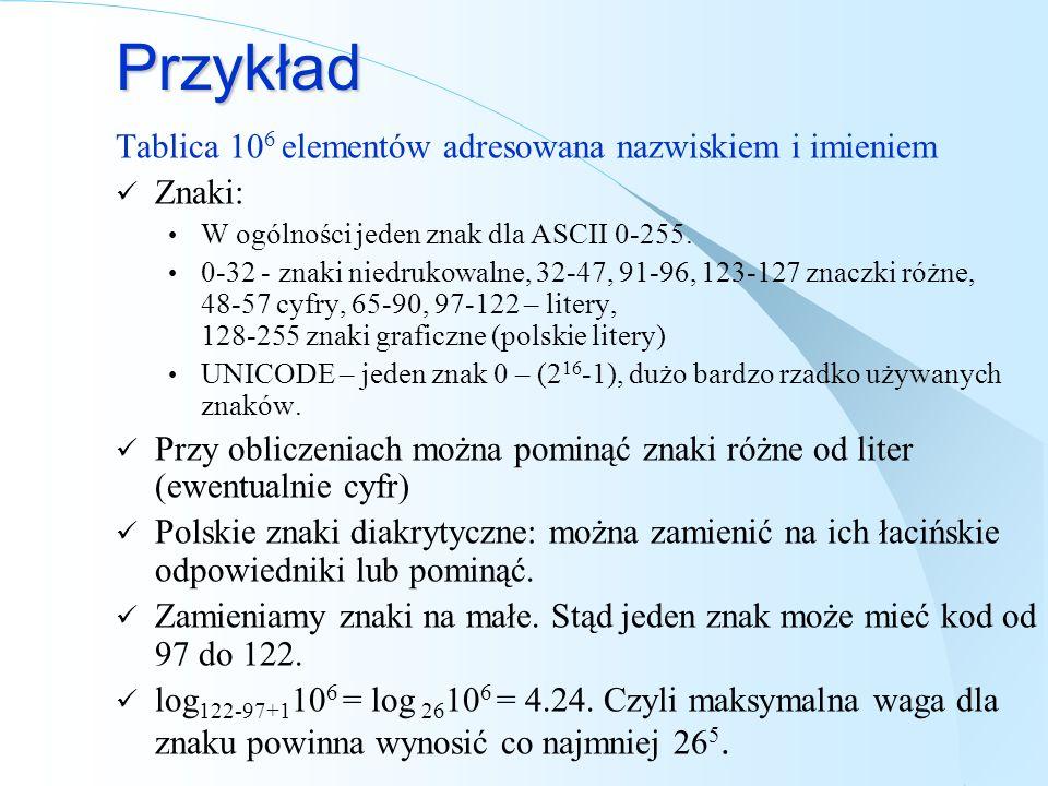 Przykład Tablica 10 6 elementów adresowana nazwiskiem i imieniem Znaki: W ogólności jeden znak dla ASCII 0-255. 0-32 - znaki niedrukowalne, 32-47, 91-