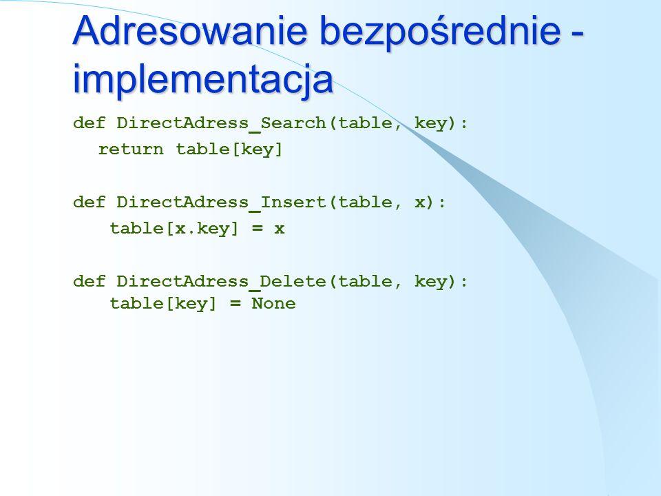 Adresowanie bezpośrednie - implementacja def DirectAdress_Search(table, key): return table[key] def DirectAdress_Insert(table, x): table[x.key] = x de