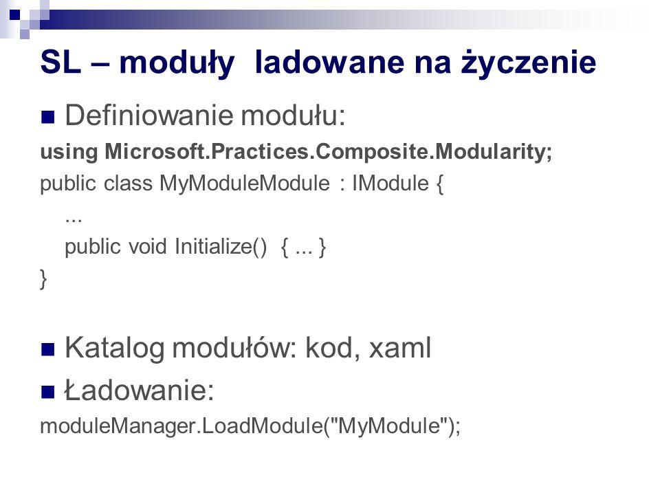 SL – moduły ladowane na życzenie Definiowanie modułu: using Microsoft.Practices.Composite.Modularity; public class MyModuleModule : IModule {...
