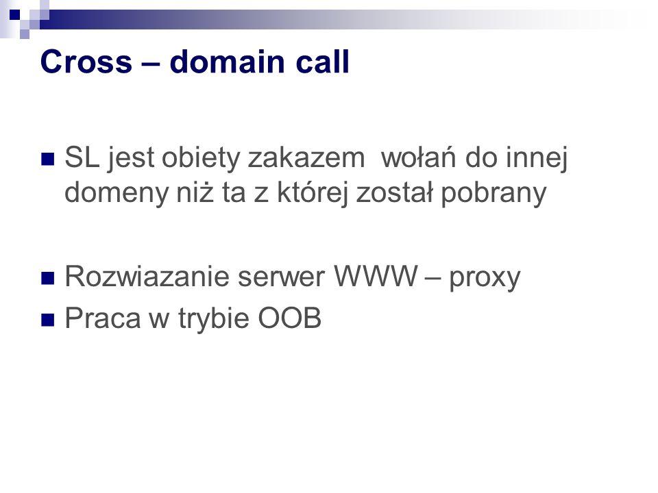 Cross – domain call SL jest obiety zakazem wołań do innej domeny niż ta z której został pobrany Rozwiazanie serwer WWW – proxy Praca w trybie OOB