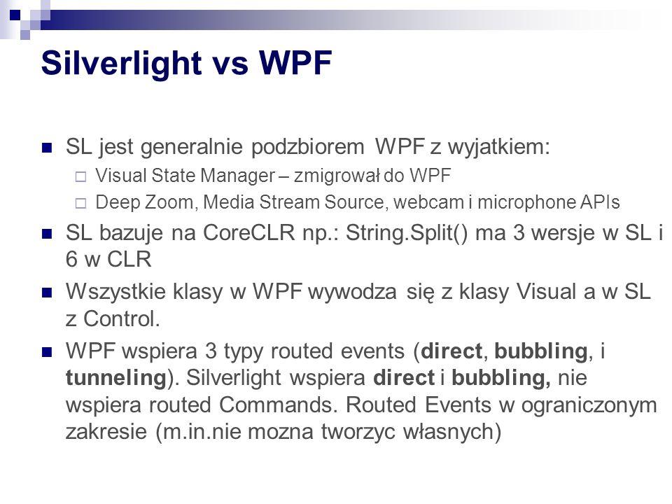 Silverlight vs WPF SL jest generalnie podzbiorem WPF z wyjatkiem: Visual State Manager – zmigrował do WPF Deep Zoom, Media Stream Source, webcam i microphone APIs SL bazuje na CoreCLR np.: String.Split() ma 3 wersje w SL i 6 w CLR Wszystkie klasy w WPF wywodza się z klasy Visual a w SL z Control.