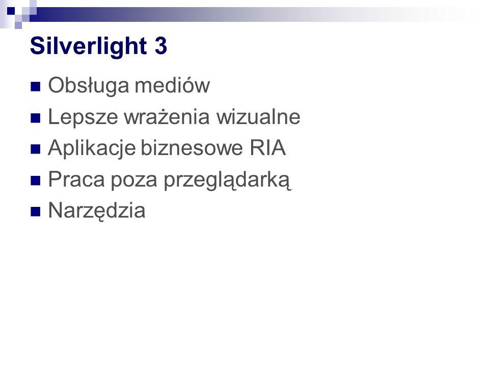 Silverlight 4 Aplikacje biznesowe (drukarka) Media: m.in H.264.