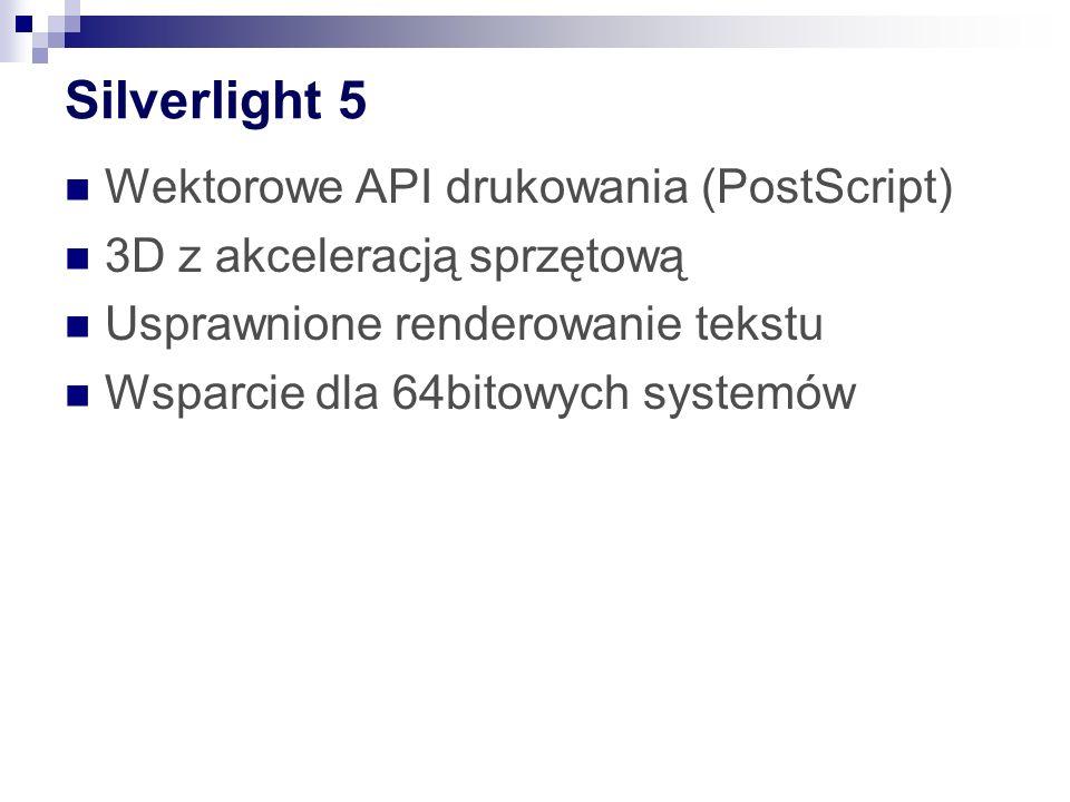 Silverlight 5 Wektorowe API drukowania (PostScript) 3D z akceleracją sprzętową Usprawnione renderowanie tekstu Wsparcie dla 64bitowych systemów