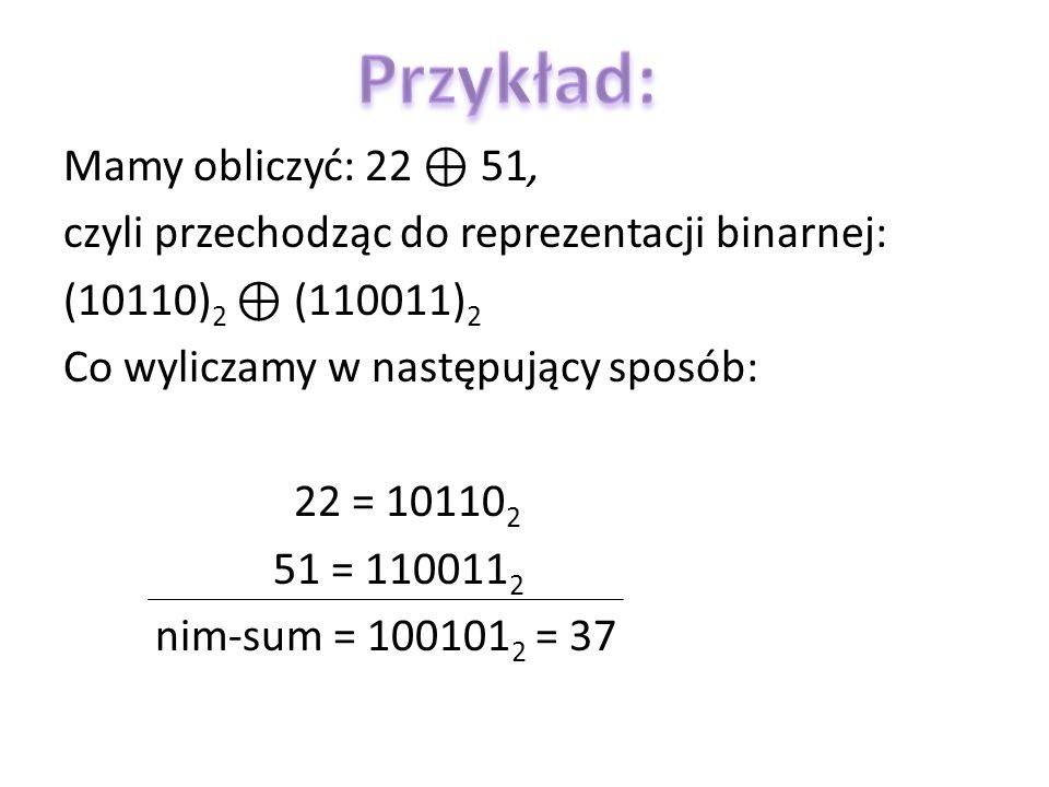 Mamy obliczyć: 22 51, czyli przechodząc do reprezentacji binarnej: (10110) 2 (110011) 2 Co wyliczamy w następujący sposób: 22 = 10110 2 51 = 110011 2