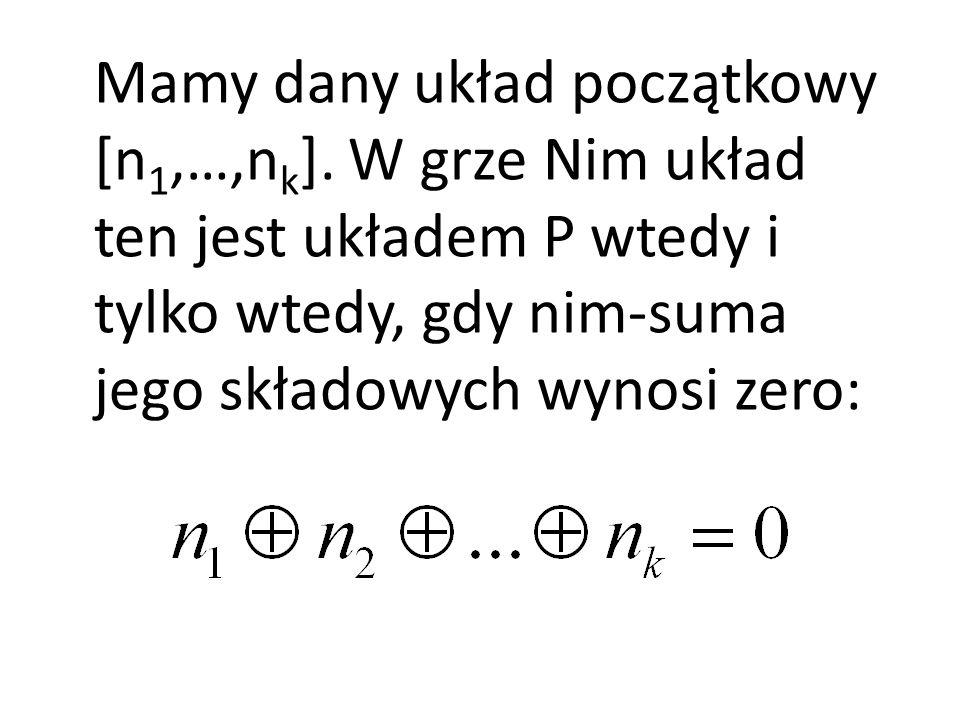 Mamy dany układ początkowy [n 1,…,n k ]. W grze Nim układ ten jest układem P wtedy i tylko wtedy, gdy nim-suma jego składowych wynosi zero: