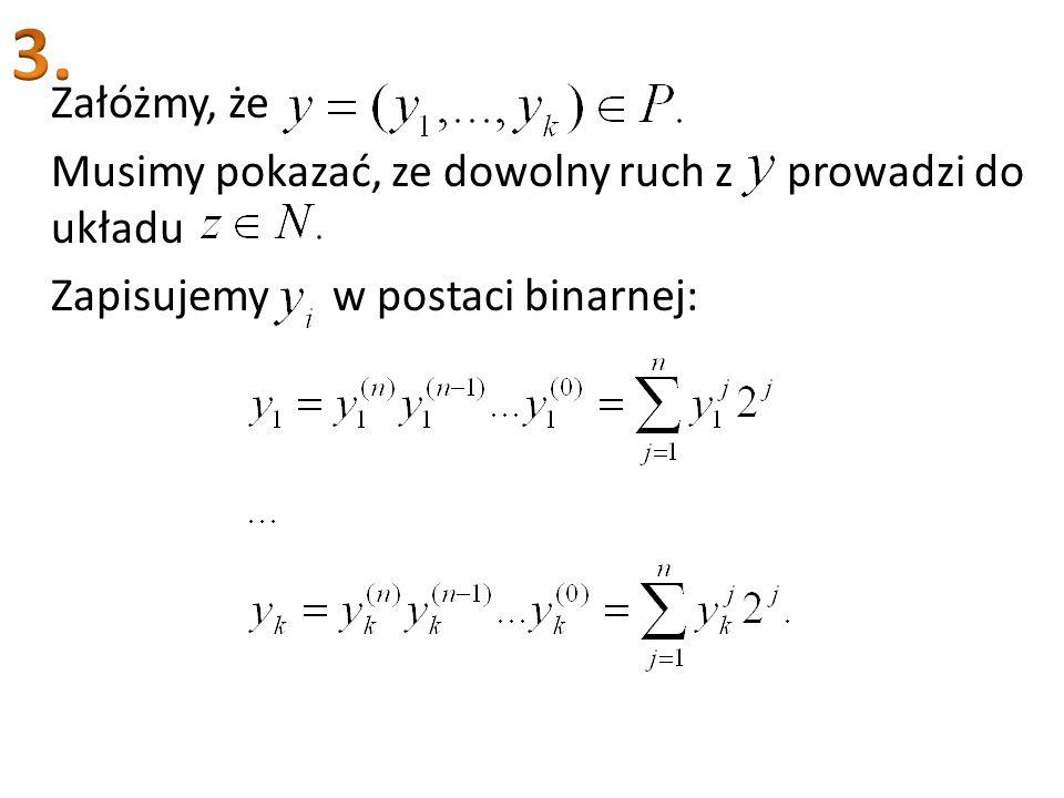 Załóżmy, że Musimy pokazać, ze dowolny ruch z prowadzi do układu Zapisujemy w postaci binarnej: