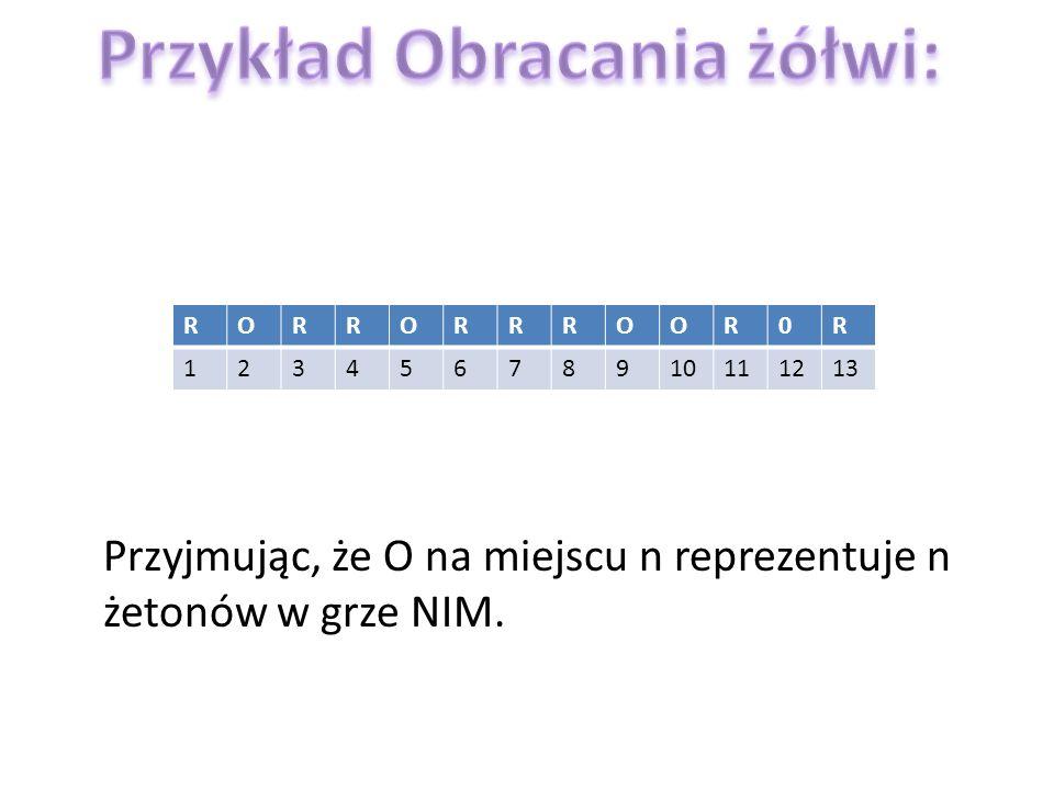RORRORRROOR0R 12345678910111213 Przyjmując, że O na miejscu n reprezentuje n żetonów w grze NIM.