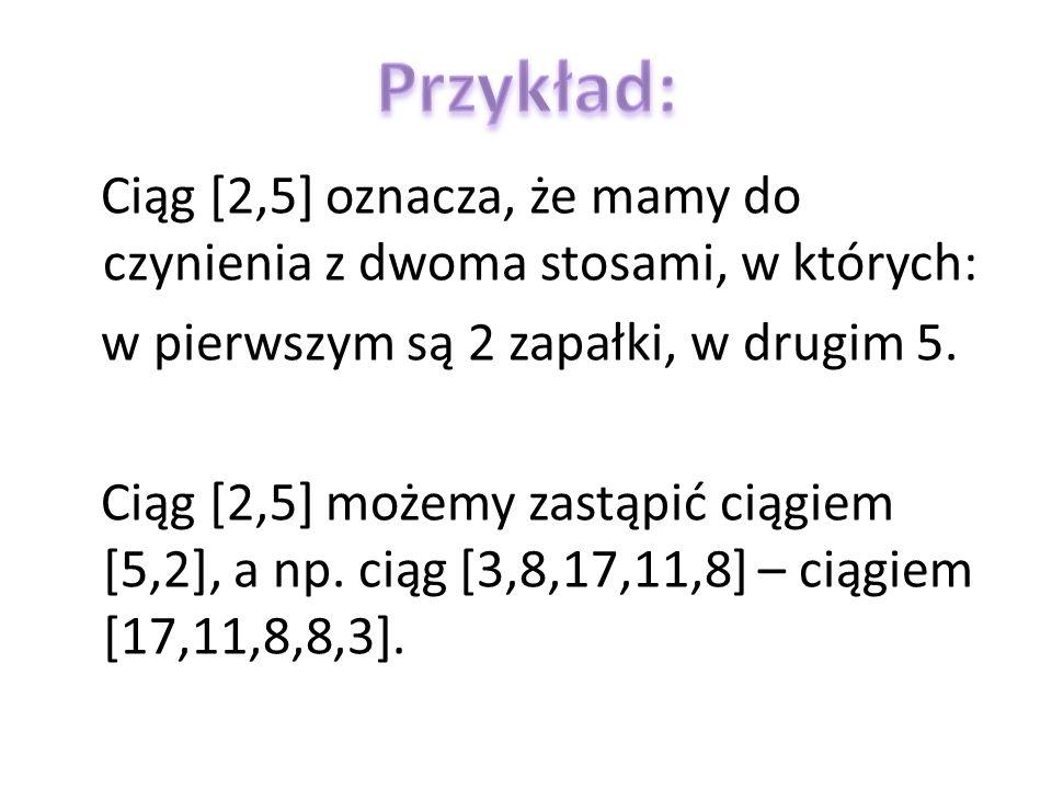 Ciąg [2,5] oznacza, że mamy do czynienia z dwoma stosami, w których: w pierwszym są 2 zapałki, w drugim 5. Ciąg [2,5] możemy zastąpić ciągiem [5,2], a
