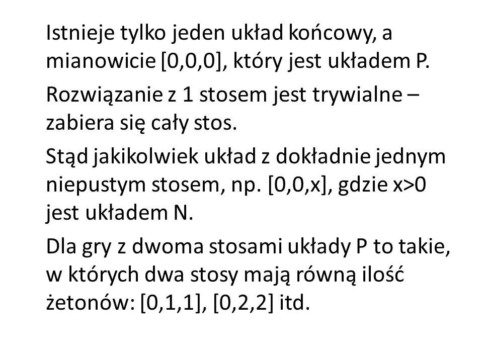 Stosy [1,1,1],[1,1,2],[1,1,3] oraz [1,2,2] są układami N, ponieważ mogą zostać zmienione na [0,1,1] lub [0,2,2].