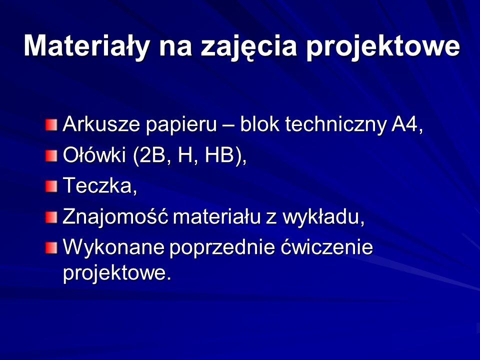 Materiały na zajęcia projektowe Arkusze papieru – blok techniczny A4, Ołówki (2B, H, HB), Teczka, Znajomość materiału z wykładu, Wykonane poprzednie ć