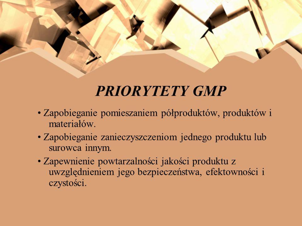 Zapobieganie pomieszaniem półproduktów, produktów i materiałów. Zapobieganie zanieczyszczeniom jednego produktu lub surowca innym. Zapewnienie powtarz