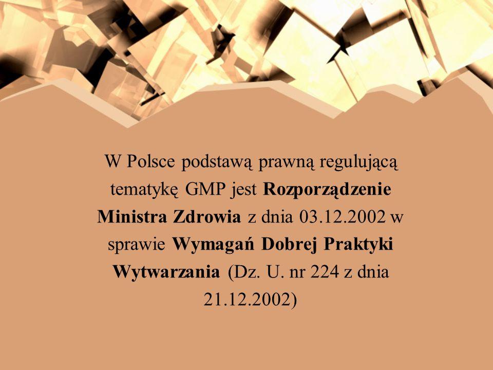 W Polsce podstawą prawną regulującą tematykę GMP jest Rozporządzenie Ministra Zdrowia z dnia 03.12.2002 w sprawie Wymagań Dobrej Praktyki Wytwarzania