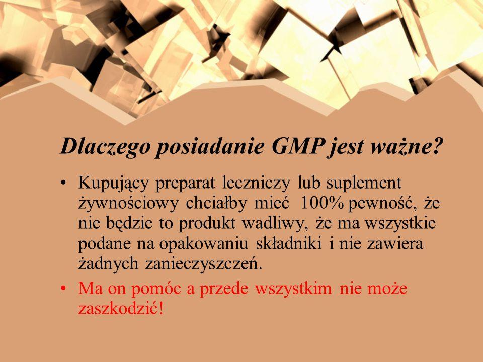 Dlaczego posiadanie GMP jest ważne? Kupujący preparat leczniczy lub suplement żywnościowy chciałby mieć 100% pewność, że nie będzie to produkt wadliwy