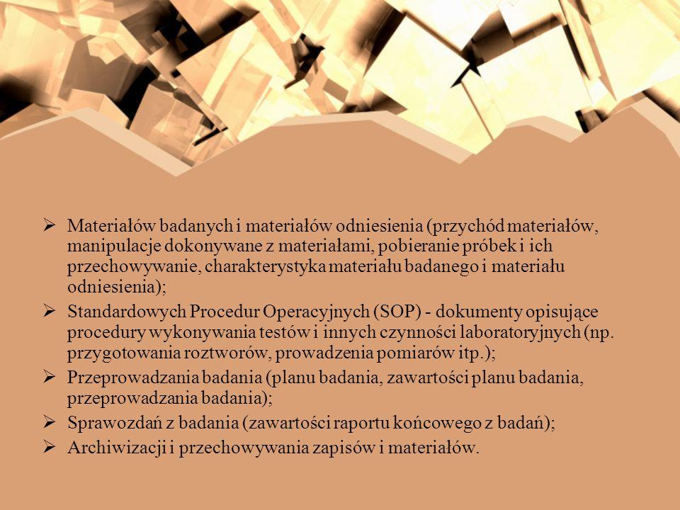 Materiałów badanych i materiałów odniesienia (przychód materiałów, manipulacje dokonywane z materiałami, pobieranie próbek i ich przechowywanie, chara