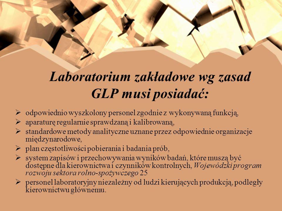Laboratorium zakładowe wg zasad GLP musi posiadać: odpowiednio wyszkolony personel zgodnie z wykonywaną funkcją, aparaturę regularnie sprawdzaną i kal