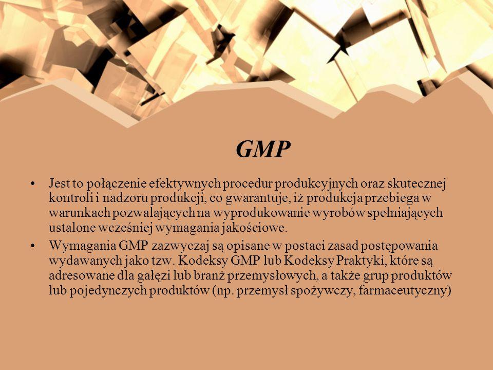 GMP Proces wytwarzania produktu musi przebiegają prawidłowo, według ściśle określonych instrukcji i procedur zapewniających jednorodność i powtarzalność wyrobu GMP ma miejsce wtedy, gdy zapewniona jest stała i ścisła kontrola wszystkich elementów produkcji na kolejnych etapach powstawania produktu, począwszy od zaopatrzenia w surowce, poprzez magazynowanie, produkcję, pakowanie i znakowanie, a kończąc na składowaniu i dystrybucji gotowego wyrobu