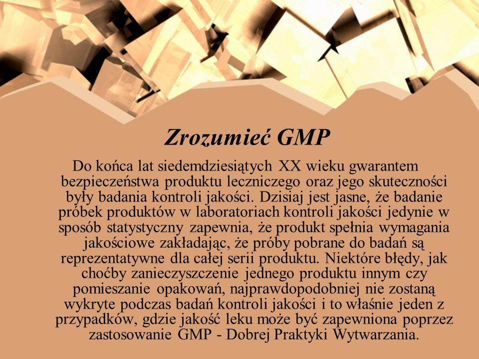 Zrozumieć GMP Do końca lat siedemdziesiątych XX wieku gwarantem bezpieczeństwa produktu leczniczego oraz jego skuteczności były badania kontroli jakoś
