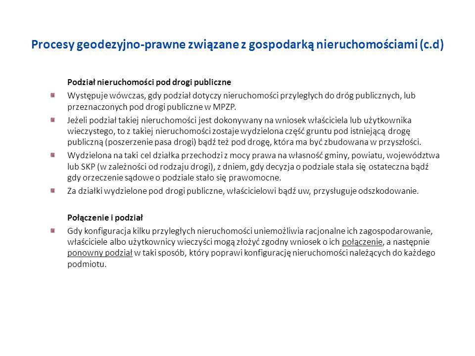 Procesy geodezyjno-prawne związane z gospodarką nieruchomościami (c.d) Podział nieruchomości pod drogi publiczne Występuje wówczas, gdy podział dotycz