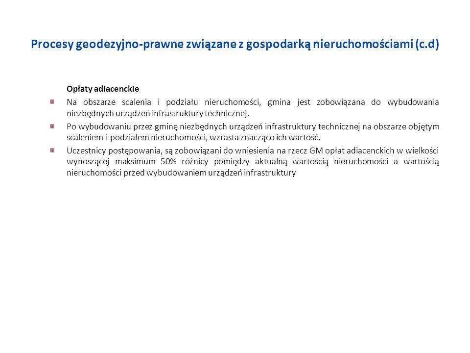 Procesy geodezyjno-prawne związane z gospodarką nieruchomościami (c.d) Opłaty adiacenckie Na obszarze scalenia i podziału nieruchomości, gmina jest zo