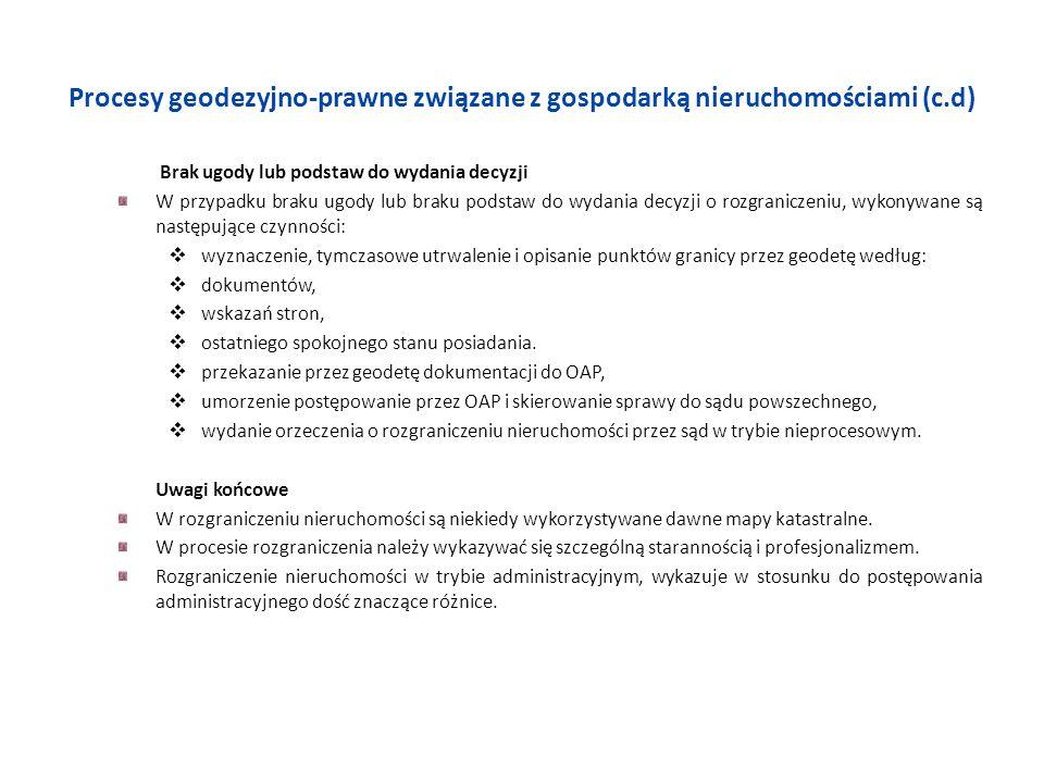 Procesy geodezyjno-prawne związane z gospodarką nieruchomościami (c.d) Brak ugody lub podstaw do wydania decyzji W przypadku braku ugody lub braku pod