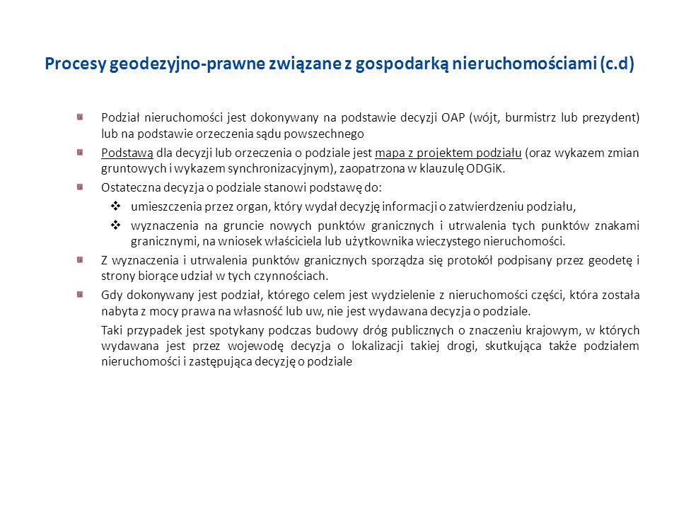 Procesy geodezyjno-prawne związane z gospodarką nieruchomościami (c.d) Podział nieruchomości jest dokonywany na podstawie decyzji OAP (wójt, burmistrz