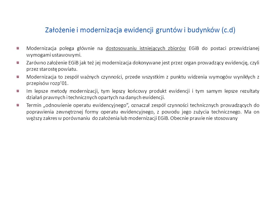 Założenie i modernizacja ewidencji gruntów i budynków (c.d) 2.