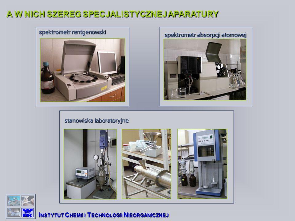 A W NICH SZEREG SPECJALISTYCZNEJ APARATURY I NSTYTUT C HEMII I T ECHNOLOGII N IEORGANICZNEJ spektrometr rentgenowski spektrometr absorpcji atomowej stanowiska laboratoryjne