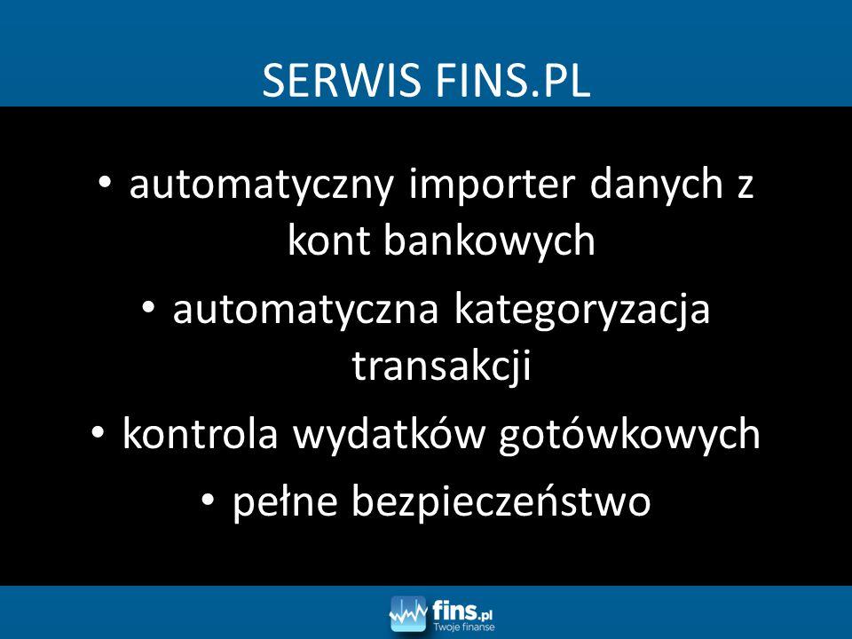 automatyczny importer danych z kont bankowych automatyczna kategoryzacja transakcji kontrola wydatków gotówkowych pełne bezpieczeństwo