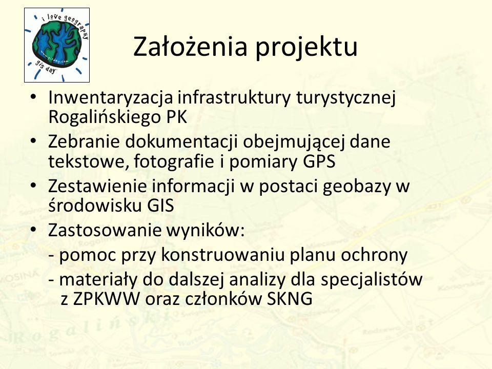 Założenia projektu Inwentaryzacja infrastruktury turystycznej Rogalińskiego PK Zebranie dokumentacji obejmującej dane tekstowe, fotografie i pomiary G