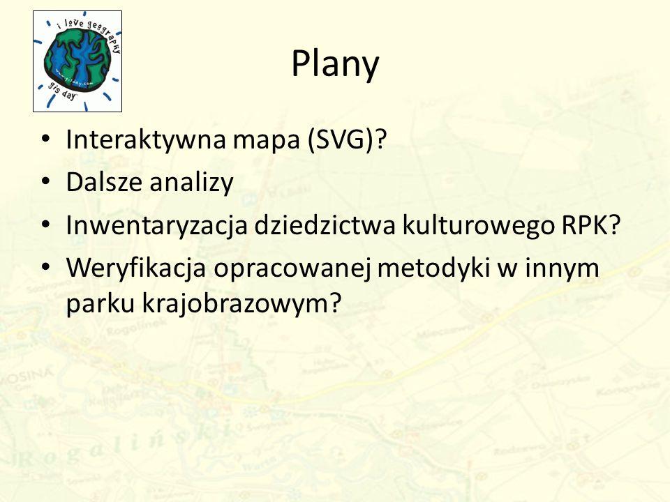 Plany Interaktywna mapa (SVG)? Dalsze analizy Inwentaryzacja dziedzictwa kulturowego RPK? Weryfikacja opracowanej metodyki w innym parku krajobrazowym