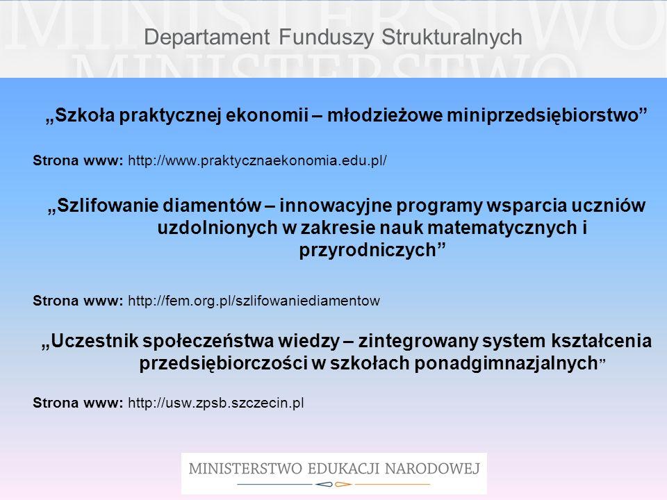 Departament Funduszy Strukturalnych Szkoła praktycznej ekonomii – młodzieżowe miniprzedsiębiorstwo Strona www: http://www.praktycznaekonomia.edu.pl/ S