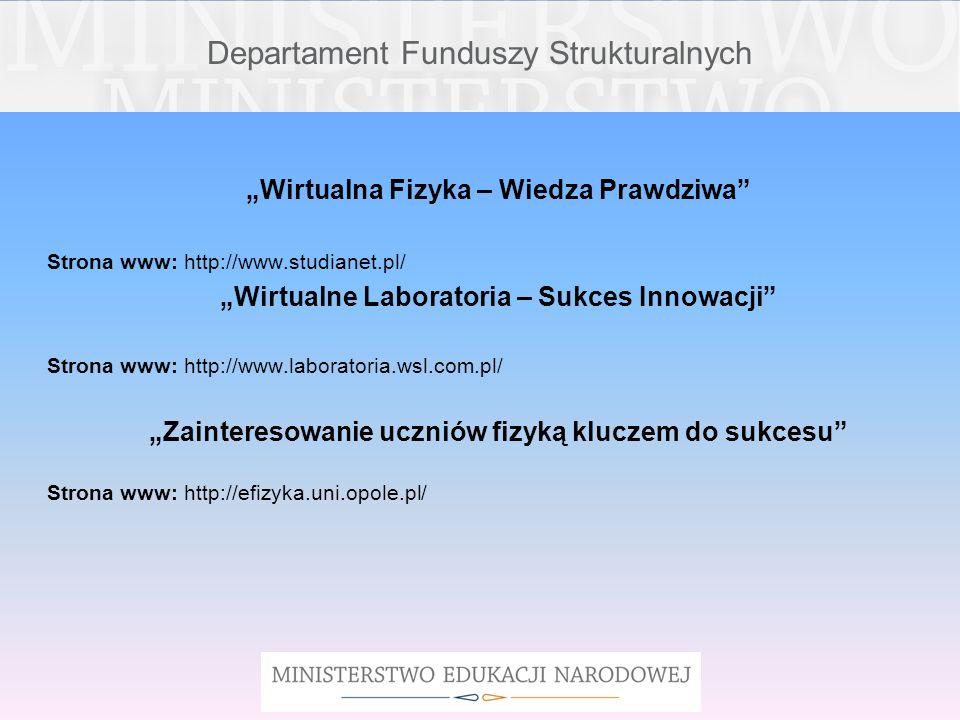 Departament Funduszy Strukturalnych Wirtualna Fizyka – Wiedza Prawdziwa Strona www: http://www.studianet.pl/ Wirtualne Laboratoria – Sukces Innowacji