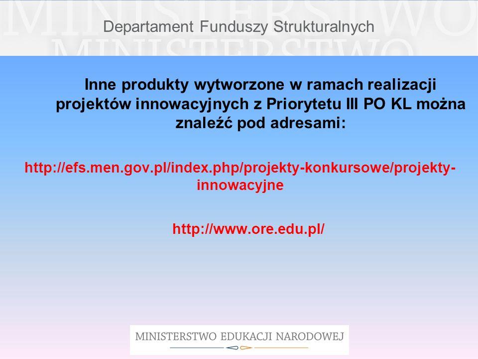 Departament Funduszy Strukturalnych Inne produkty wytworzone w ramach realizacji projektów innowacyjnych z Priorytetu III PO KL można znaleźć pod adre