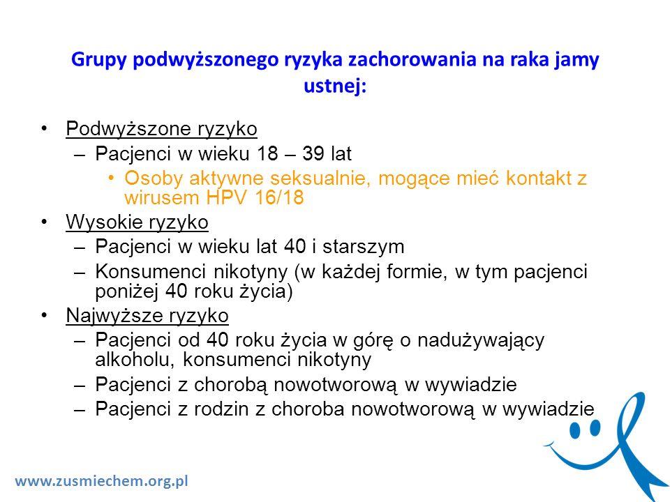 Grupy podwyższonego ryzyka zachorowania na raka jamy ustnej: www.zusmiechem.org.pl Podwyższone ryzyko –Pacjenci w wieku 18 – 39 lat Osoby aktywne seks