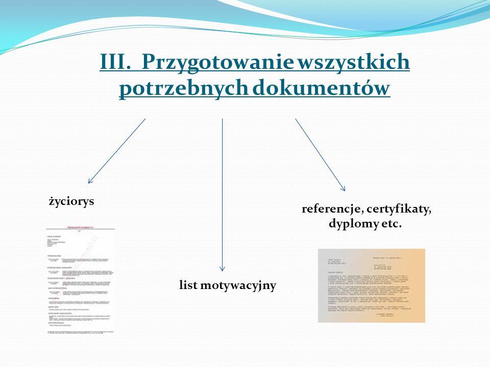 III. Przygotowanie wszystkich potrzebnych dokumentów życiorys list motywacyjny referencje, certyfikaty, dyplomy etc.
