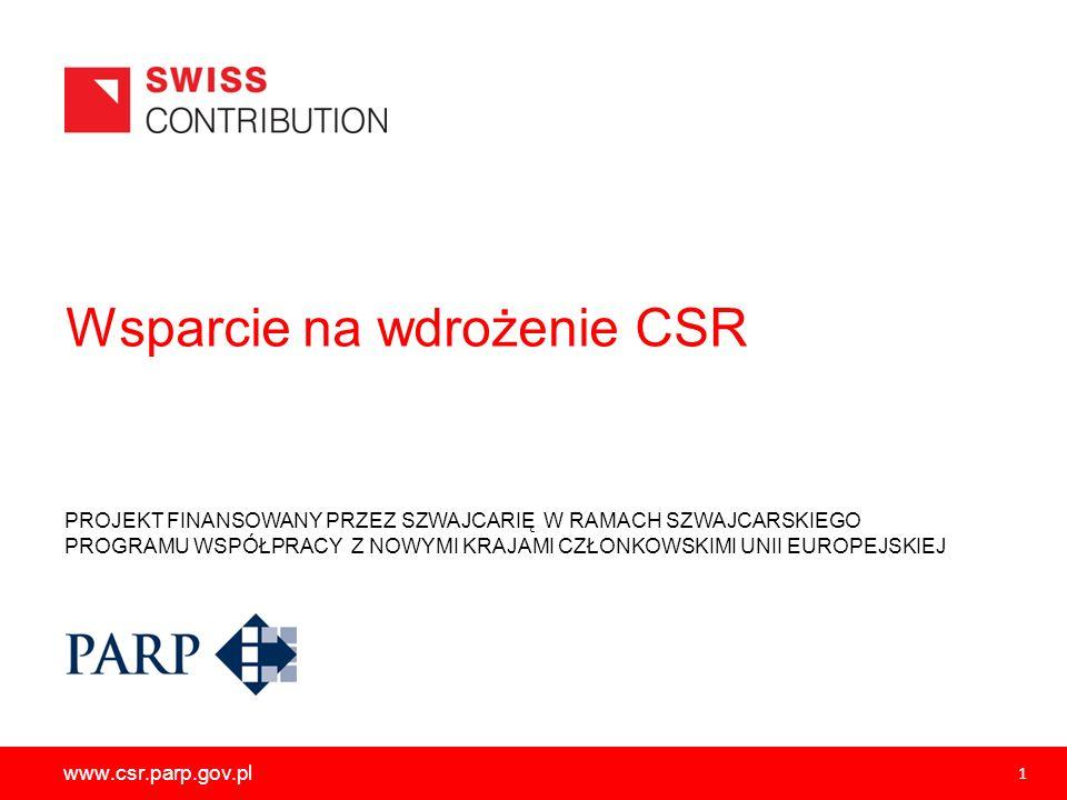 PROJEKT FINANSOWANY PRZEZ SZWAJCARIĘ W RAMACH SZWAJCARSKIEGO PROGRAMU WSPÓŁPRACY Z NOWYMI KRAJAMI CZŁONKOWSKIMI UNII EUROPEJSKIEJ www.csr.parp.gov.pl