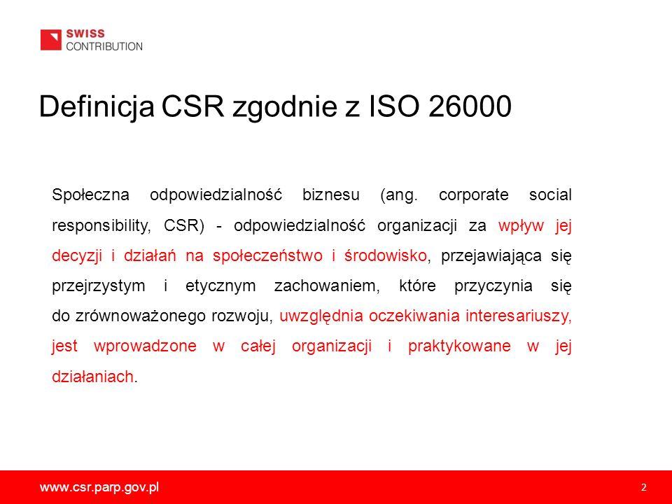 www.csr.parp.gov.pl 2 Społeczna odpowiedzialność biznesu (ang. corporate social responsibility, CSR) - odpowiedzialność organizacji za wpływ jej decyz