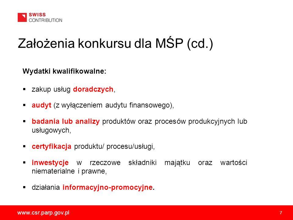 www.csr.parp.gov.pl 7 Wydatki kwalifikowalne: zakup usług doradczych, audyt (z wyłączeniem audytu finansowego), badania lub analizy produktów oraz pro