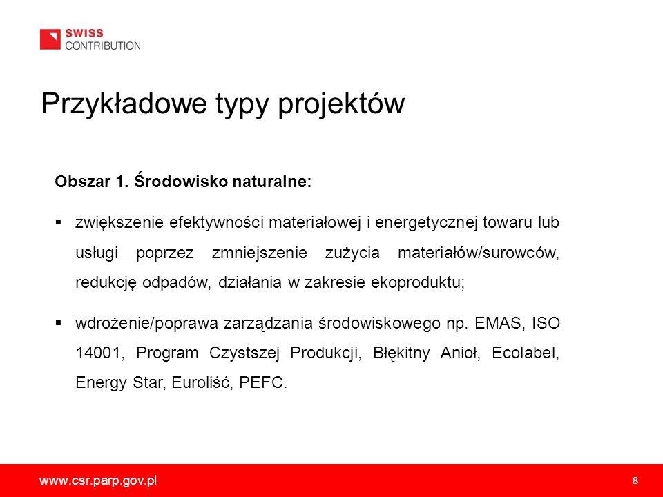 www.csr.parp.gov.pl 8 Obszar 1. Środowisko naturalne: zwiększenie efektywności materiałowej i energetycznej towaru lub usługi poprzez zmniejszenie zuż