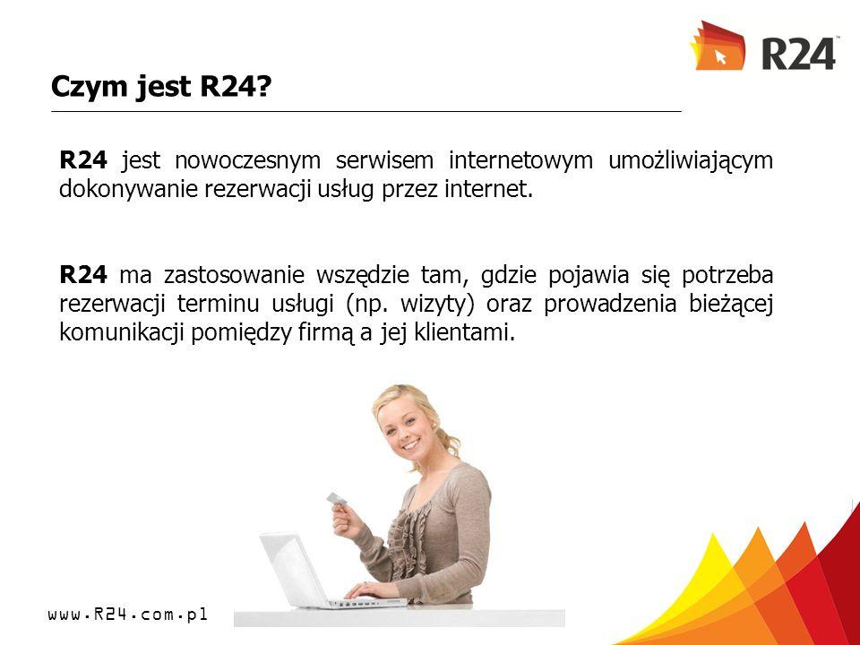 www.R24.com.pl Czym jest R24? R24 jest nowoczesnym serwisem internetowym umożliwiającym dokonywanie rezerwacji usług przez internet. R24 ma zastosowan