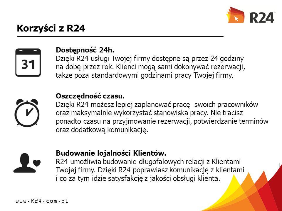 www.R24.com.pl Korzyści z R24 Dostępność 24h. Dzięki R24 usługi Twojej firmy dostępne są przez 24 godziny na dobę przez rok. Klienci mogą sami dokonyw
