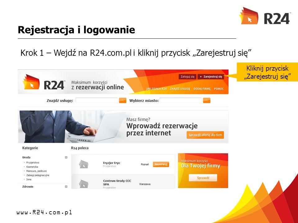 www.R24.com.pl Rejestracja i logowanie Jesteś teraz zalogowany jako Firma, przy pomocy Panelu możesz edytować wszystkie dane.