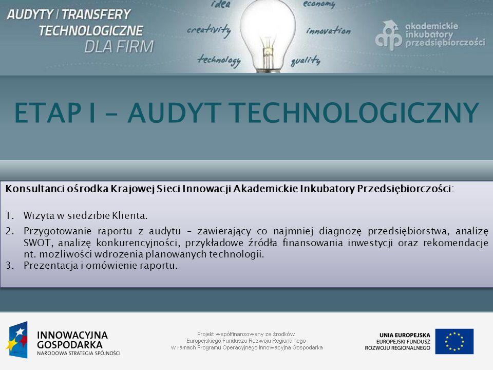 ETAP I – AUDYT TECHNOLOGICZNY Konsultanci ośrodka Krajowej Sieci Innowacji Akademickie Inkubatory Przedsiębiorczości: 1.Wizyta w siedzibie Klienta. 2.