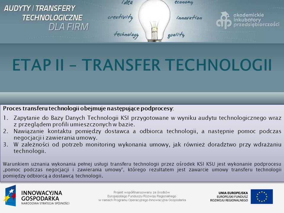 ETAP II – TRANSFER TECHNOLOGII Proces transferu technologii obejmuje następujące podprocesy: 1.Zapytanie do Bazy Danych Technologii KSI przygotowane w