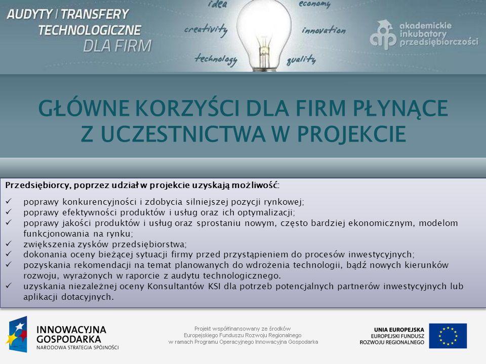 GŁÓWNE KORZYŚCI DLA FIRM PŁYNĄCE Z UCZESTNICTWA W PROJEKCIE Przedsiębiorcy, poprzez udział w projekcie uzyskają możliwość: poprawy konkurencyjności i